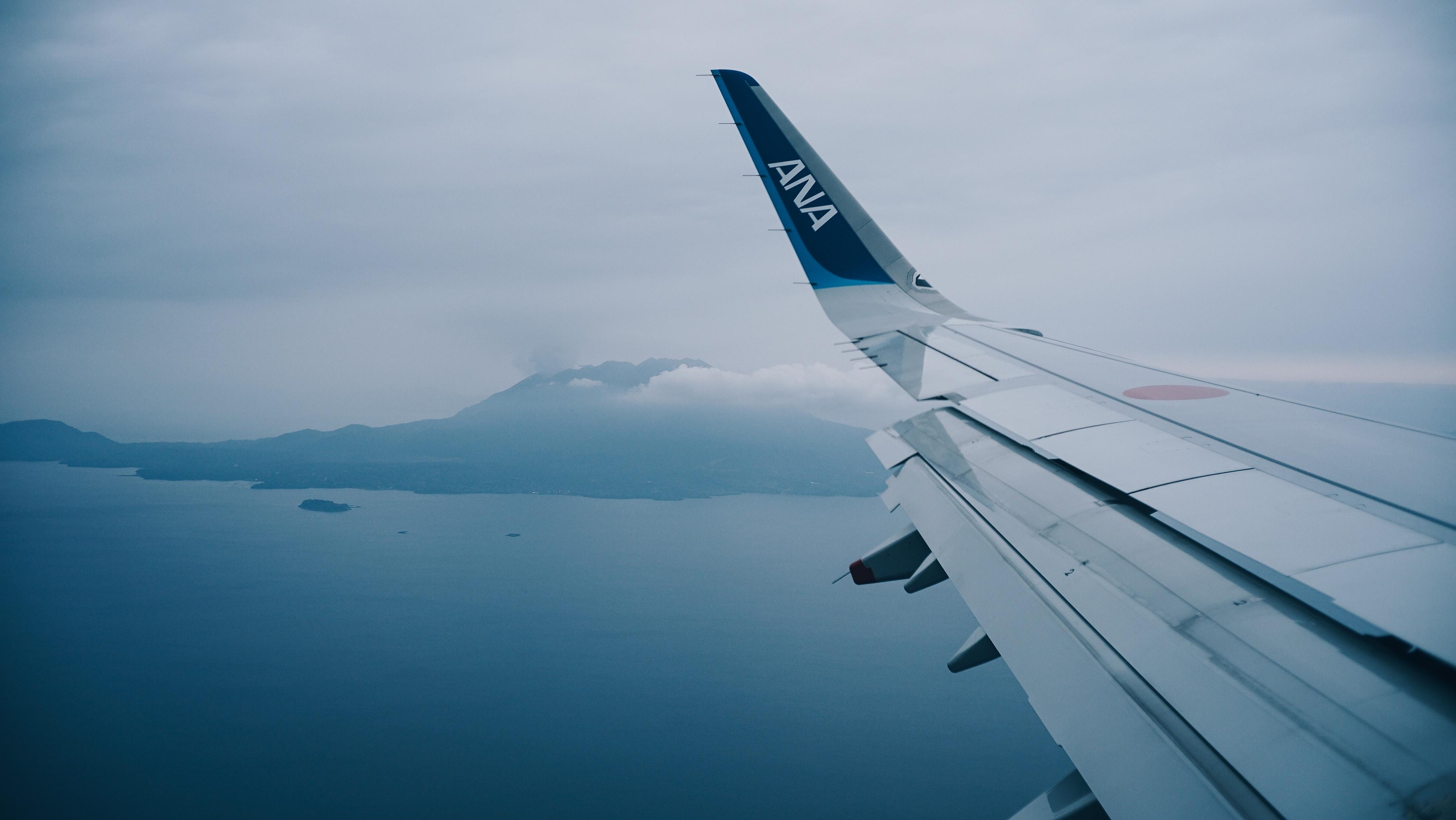 鹿児島空港着陸直前の桜島